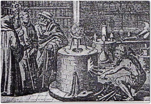 "Laboratorio alchemico. Da ""The Story of Alchemy and the Beginnings of Chemistry"""